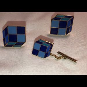 Blue color men's cuff Links in gold tone